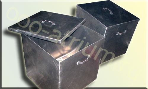 Алюминиевые баки с крышками, изготовлены из алюминия АМГ5м сплава, толшиной 5.0 мм.