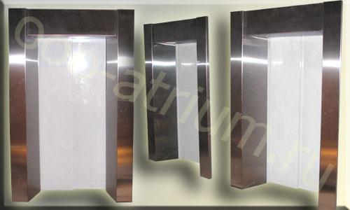 Обрамления лифтовых порталов, шлифованная нержавейка 1,5 мм.